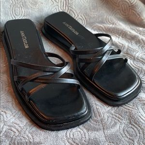 Ann Taylor Sandals Black Leather Slides 90s square